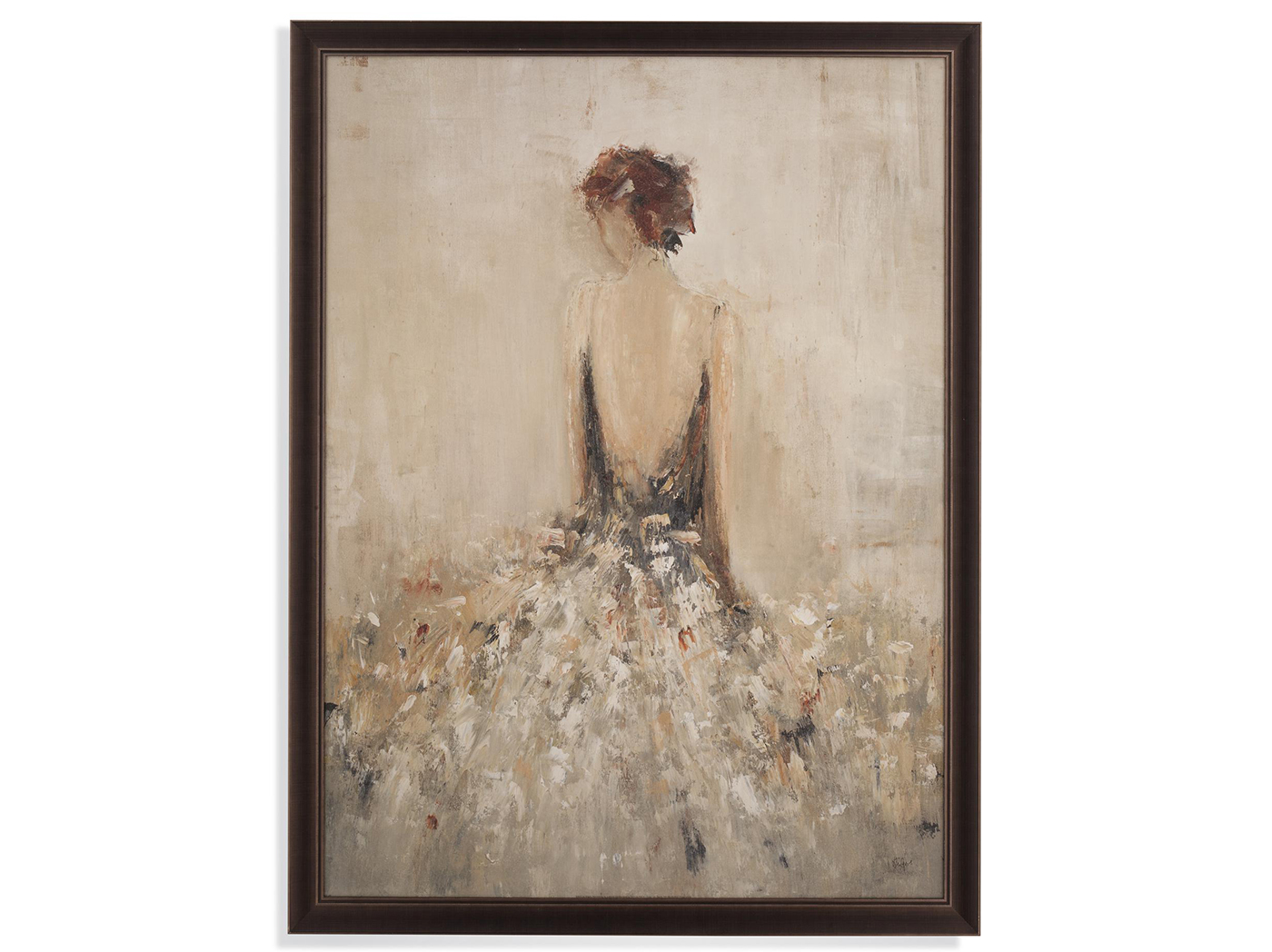 "Charcoal and Taupe Lady Framed Print 40""W x 52""H"