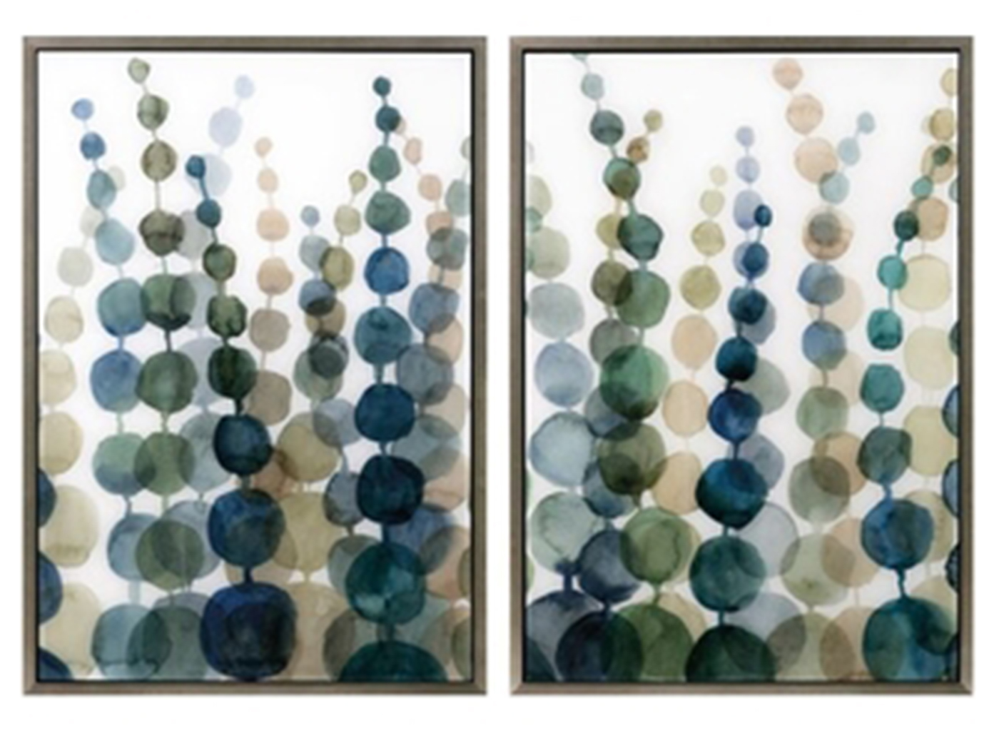 "Assorted Green, Blue, Natural Abstract Art Each 25.75""W x 36.25""H"