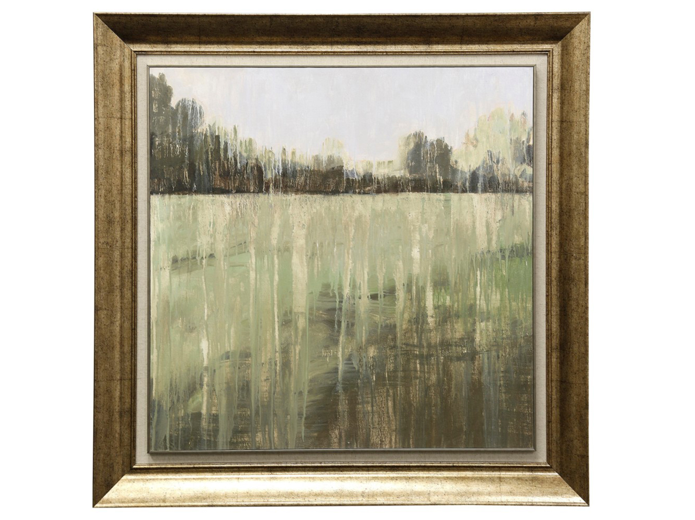"Green Field I Textured Framed Print 39""W x 39""H"