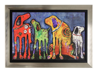 "Best Friends Colorful Dogs Framed Print 44""W x 32""H"