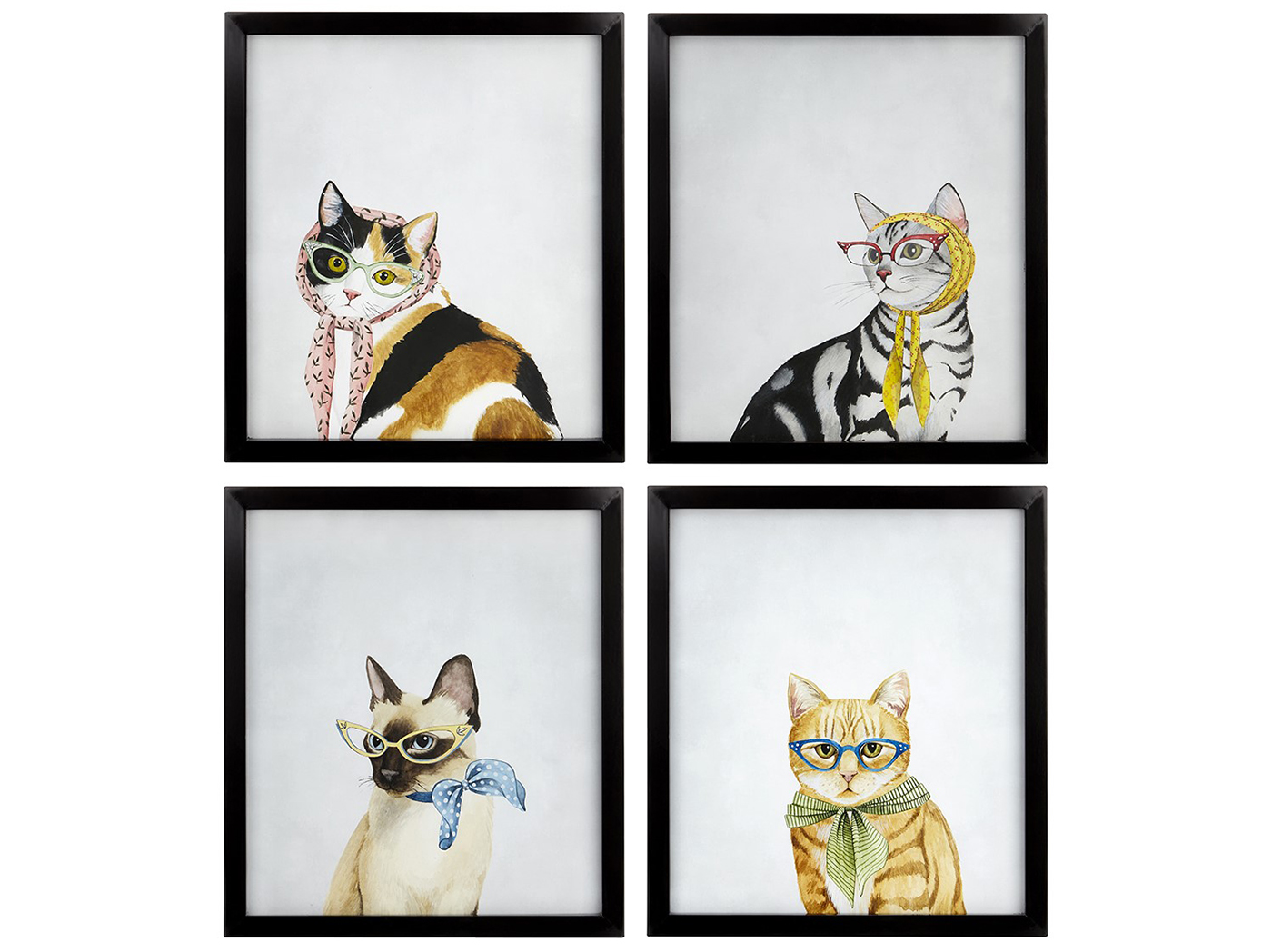 "Assorted Cat in Scarf Framed Print Each 14""W x 15.5""H"