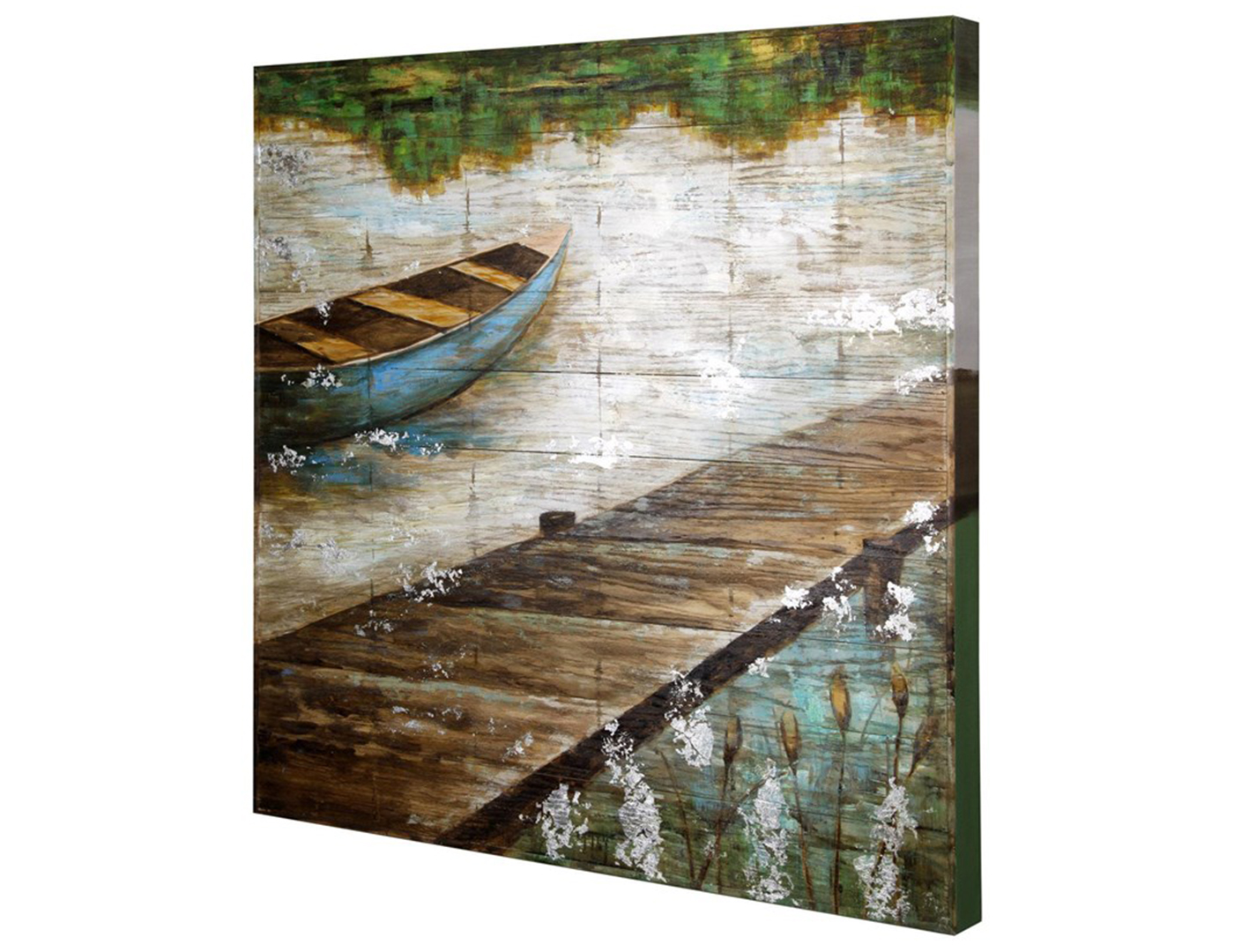 "Boat by the Pier Wall Art 40""W x 40""H"