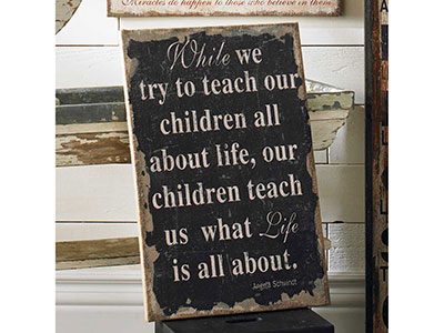 While We Try to Teach Burlap Sign 16""
