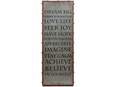 "Metal Inspirational Wall Art 14""W x 37""H"
