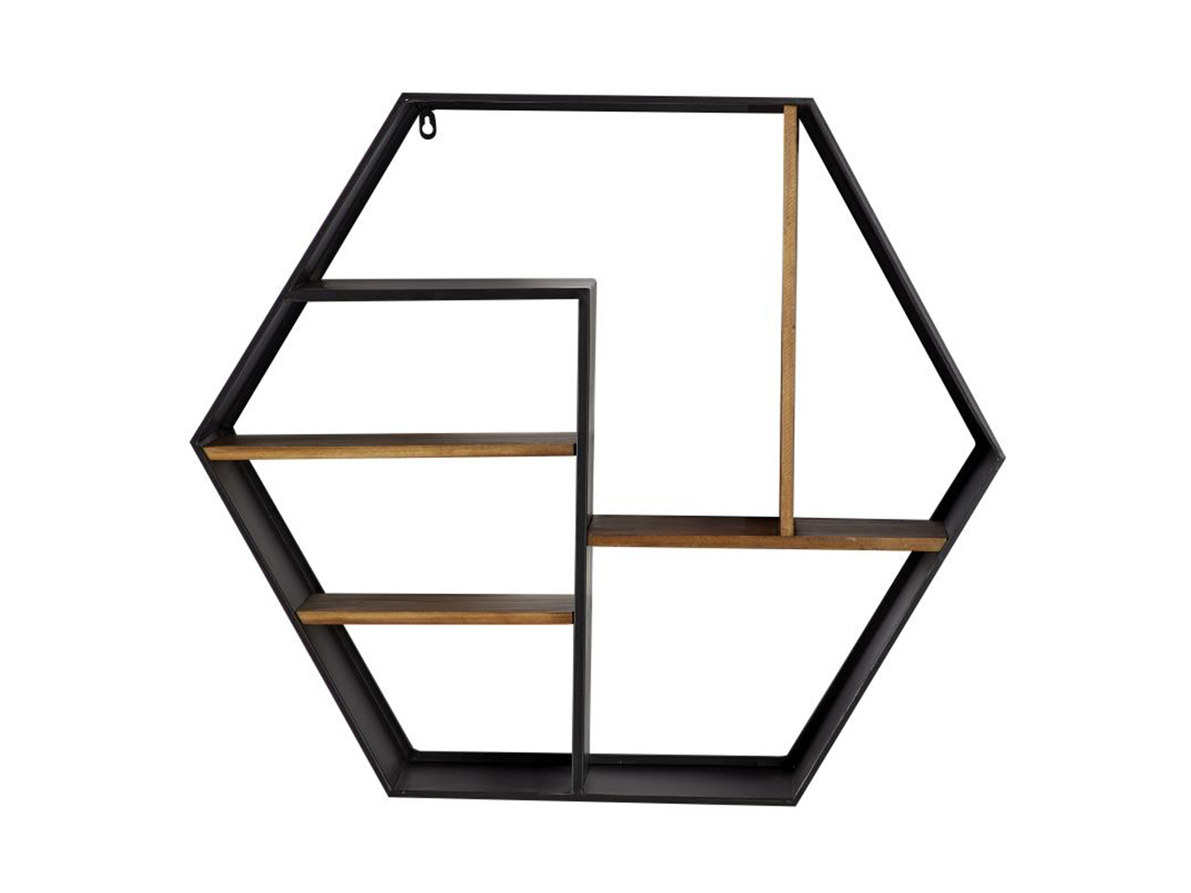 "Black and Brown Metal Hexagon Wall Shelf 30""W x 26""H"