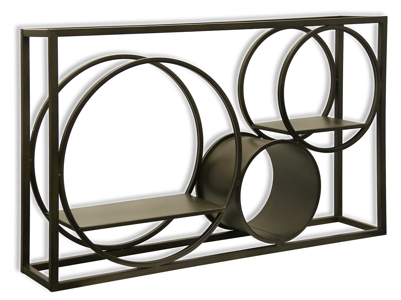 "Iron Finished Metal Geometric Wall Shelf 39.5""W x 23.5""H"