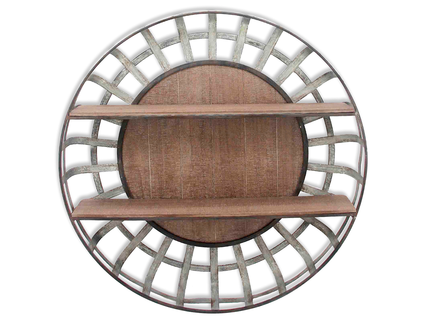 Galvanized Metal and Wood Round Wall Shelf 35.5""