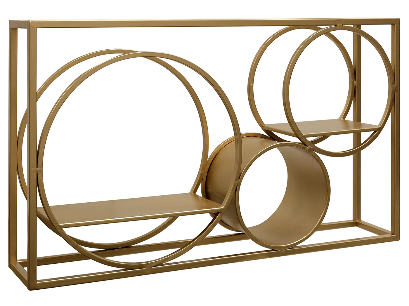 "Gold Finished Metal Geometric Wall Shelf 39.5""W x 23.5""H"