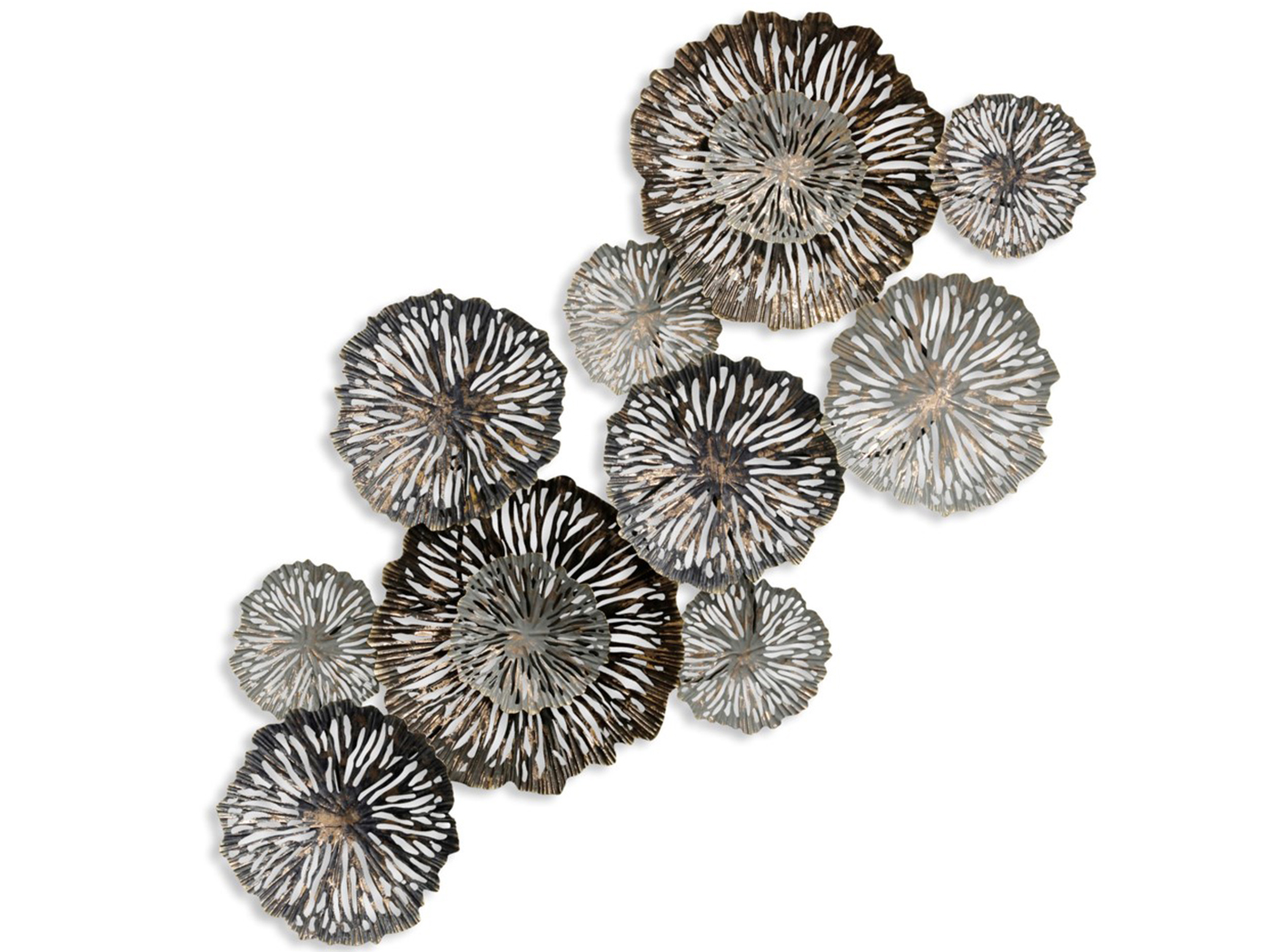 "Grey and Gold Metal Flower Wall Decor 28""W x 54""H"