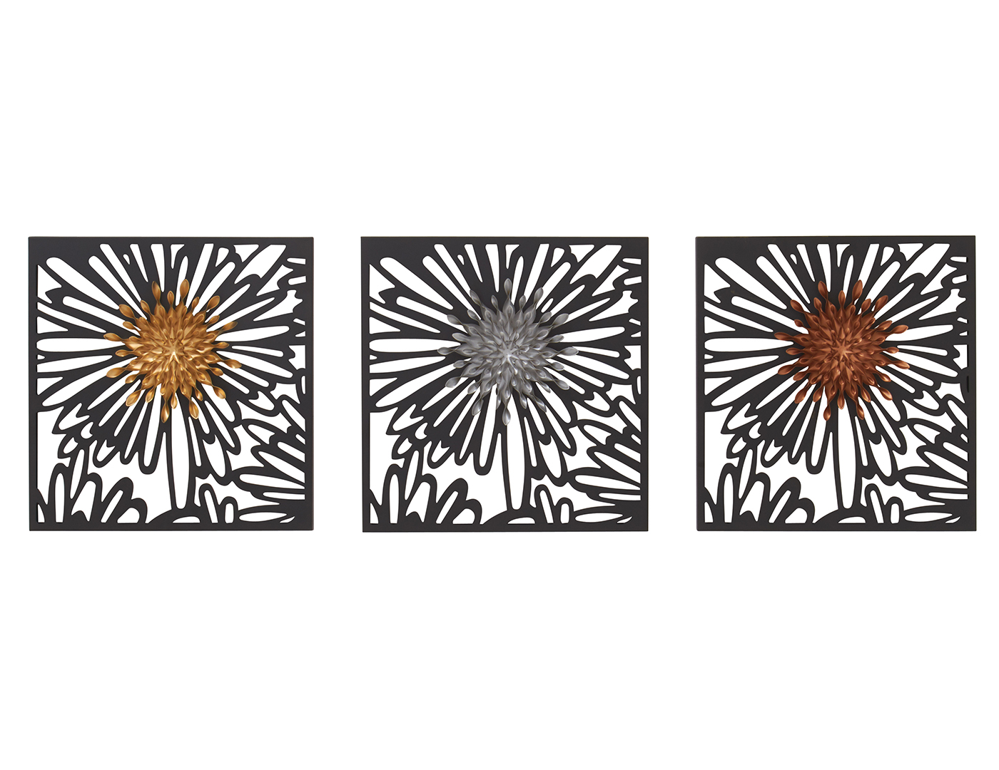 "Assorted Metal Flower Wall Decor Each 15""W x 15""H"