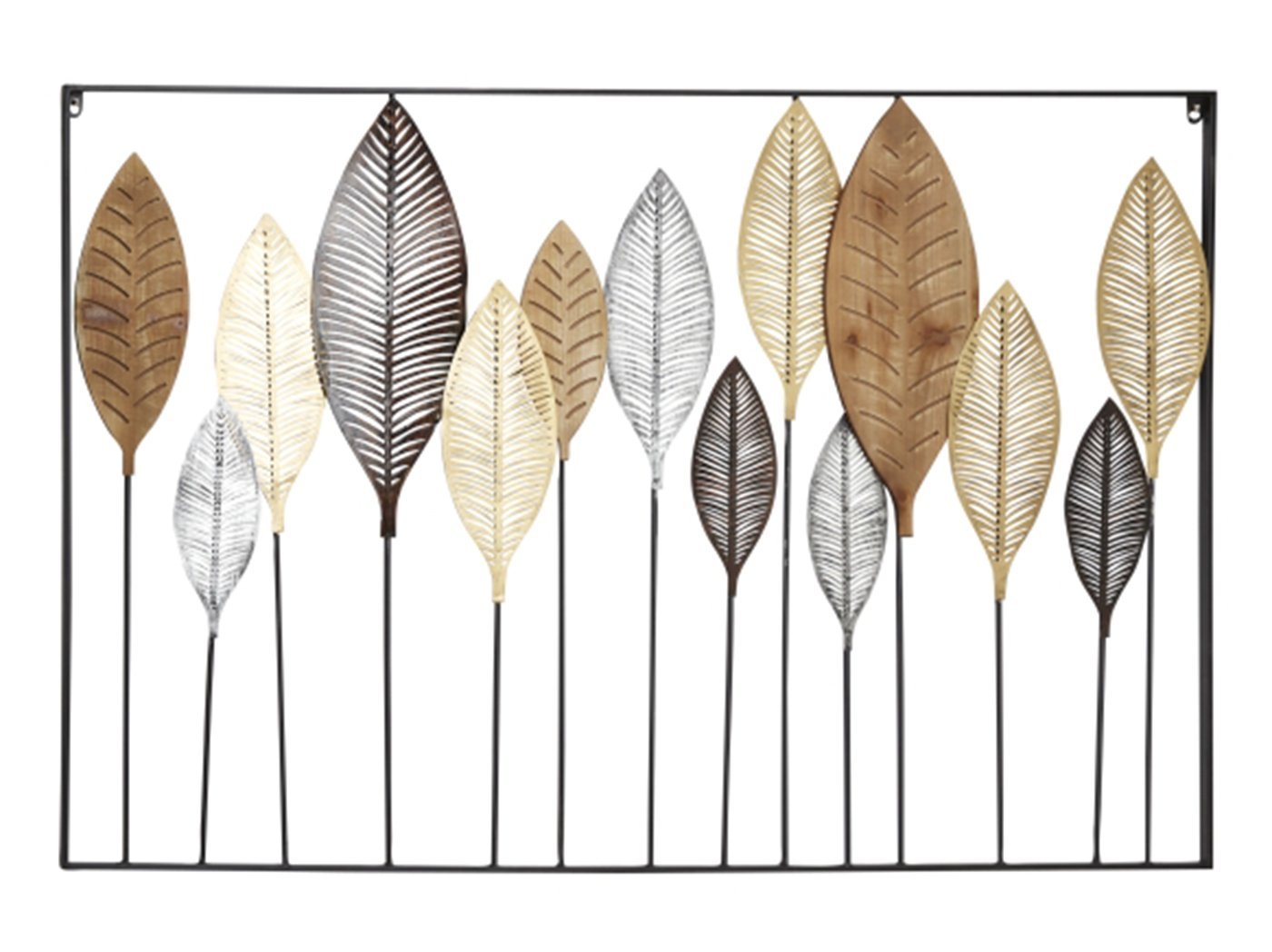"Copper, Gold, and Black Metal Leaves Wall Decor 47""W x 31""H"