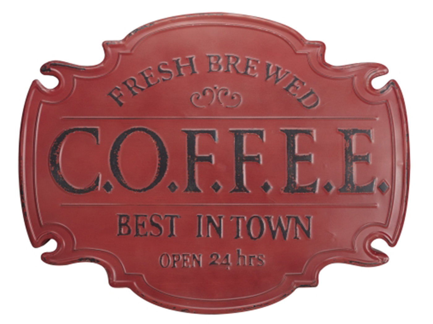 "Red Metal Coffee Wall Decor 30""W x 23""H"