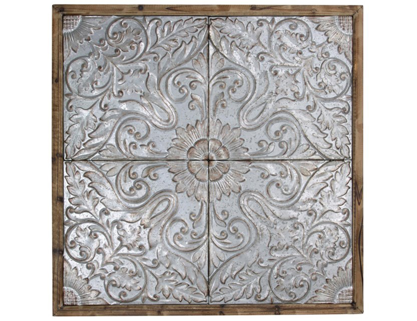 "Silver Punched Tin Framed Ceiling Tiles 47""W x 47""H"