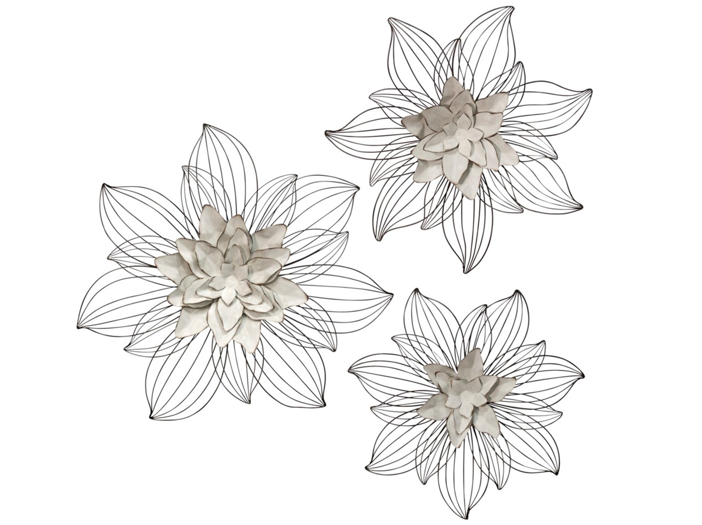 "Set of 3 Cream Metal Flowers Wall Decor 20""/24""/27"""