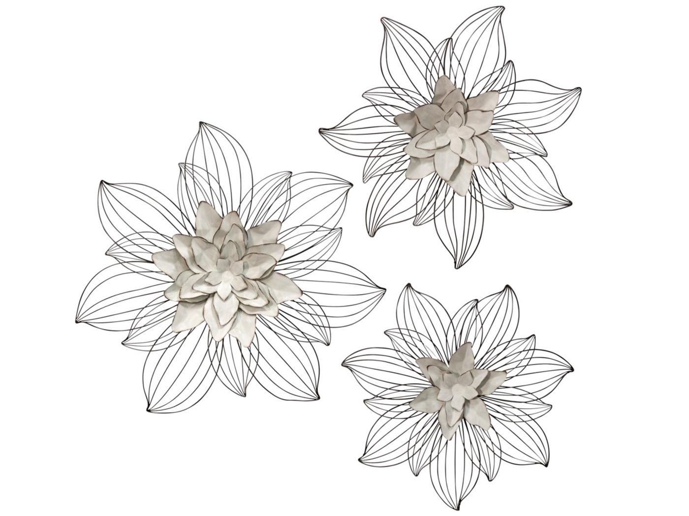Set Of 3 Cream Metal Flowers Wall Decor 20 24 27 Steinhafels