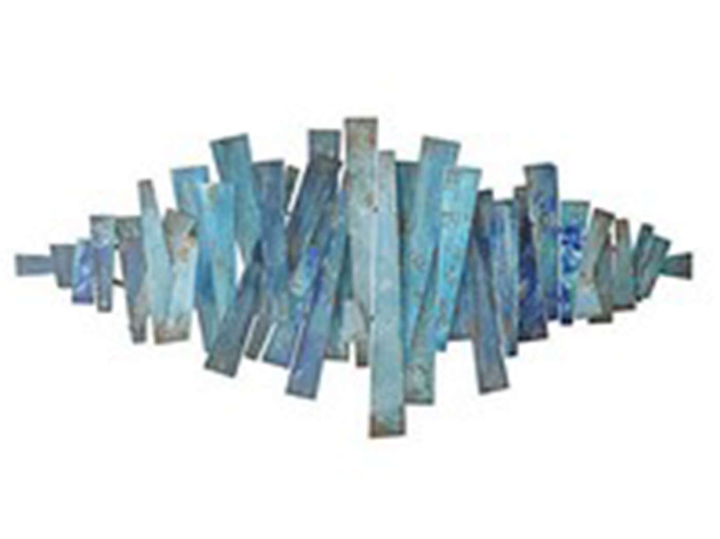 "Blue Metal Abstract Wall Art 51""W x 24""H"