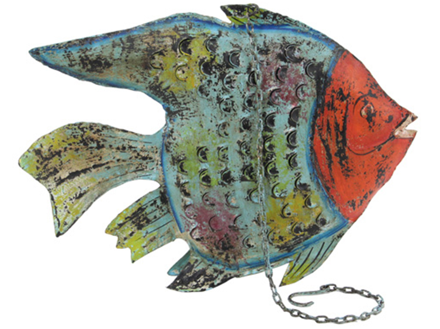 "Blue-Multi Metal Fish Lantern 25""W x 18""H"