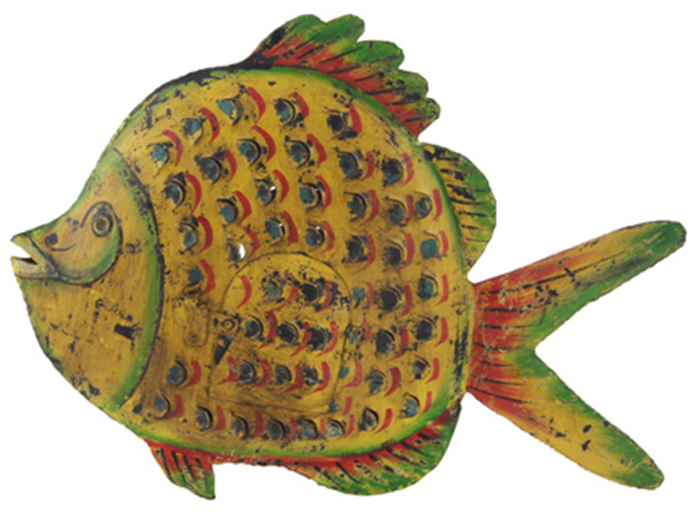 "Yellow Metal Fish Lantern 24""W x 18""H"