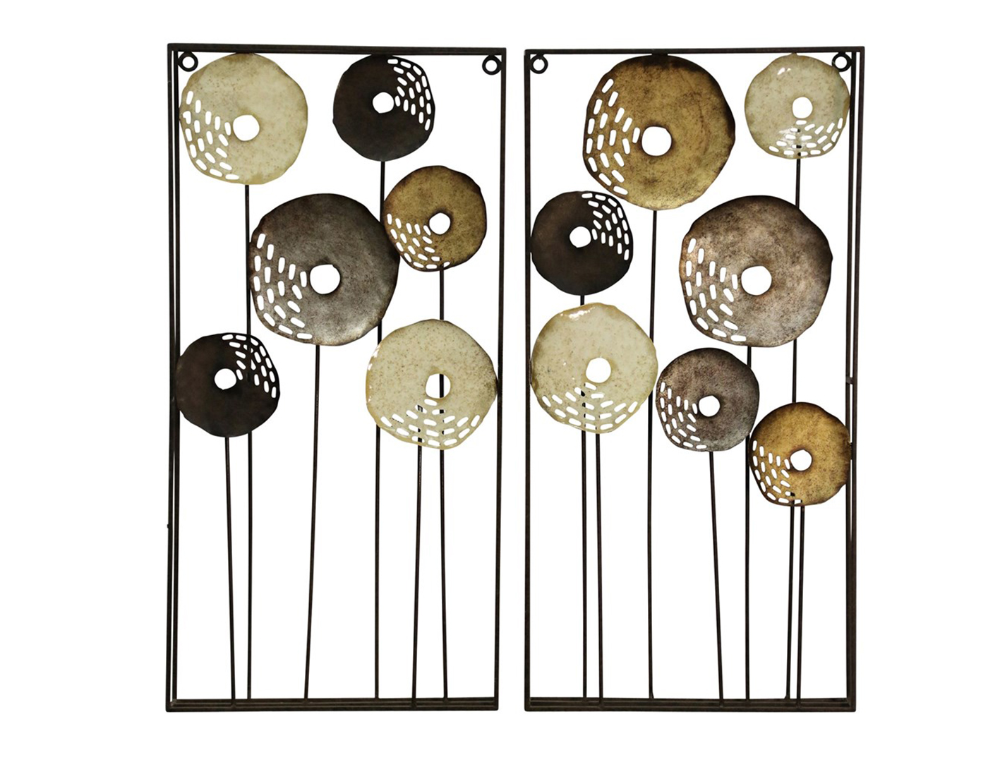 "Set of 2 Cream, Copper, and Black Abstract Flowers Metal Wall Decor 16""Wx32""H"