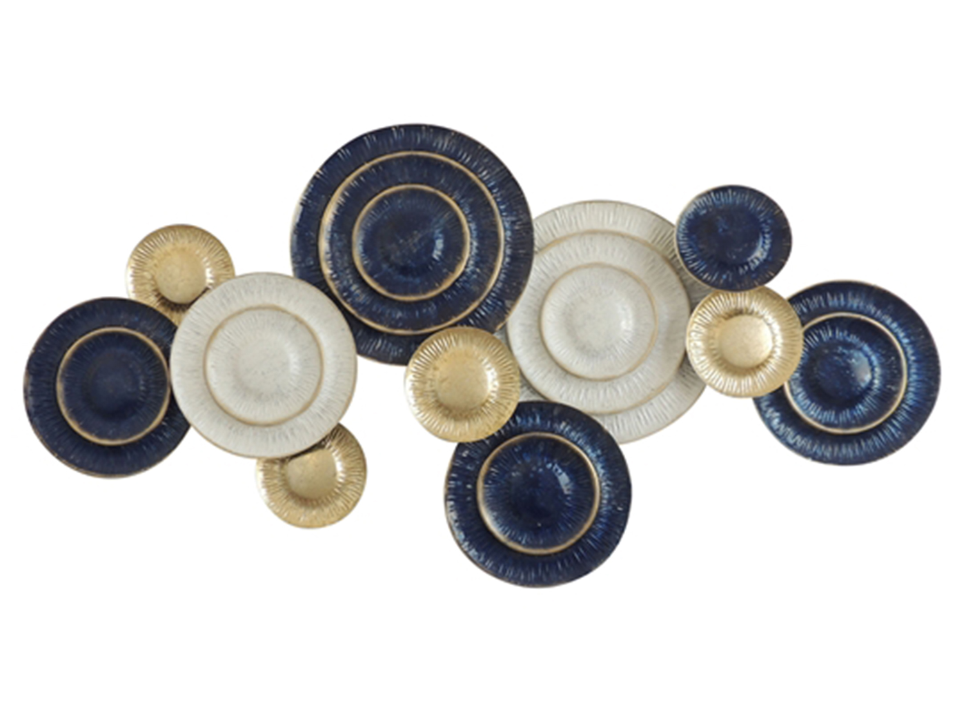 "Blue,White,& Gold Metal Disks Wall Decor 53""W x 27""H"