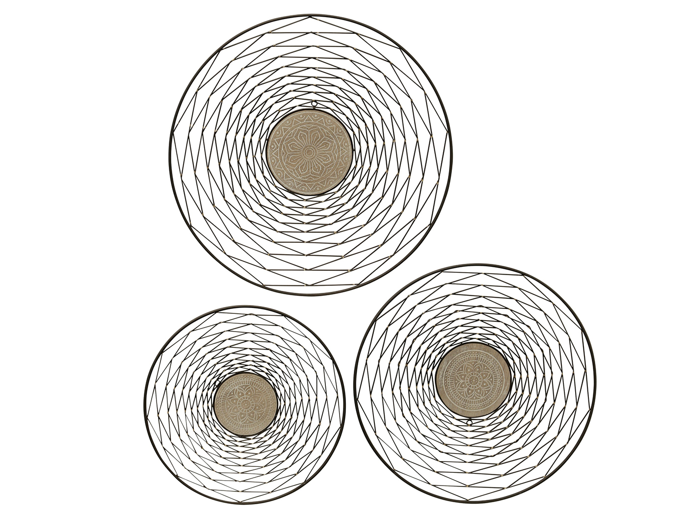 Set of 3 Metal and Wood Medallion Wall Decor 27""