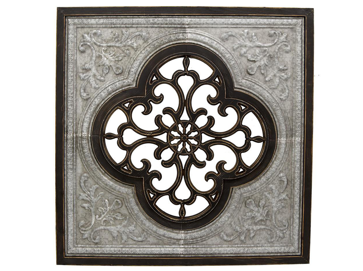"Black Wood/Metal Wall Decor 43""W x 43""H"