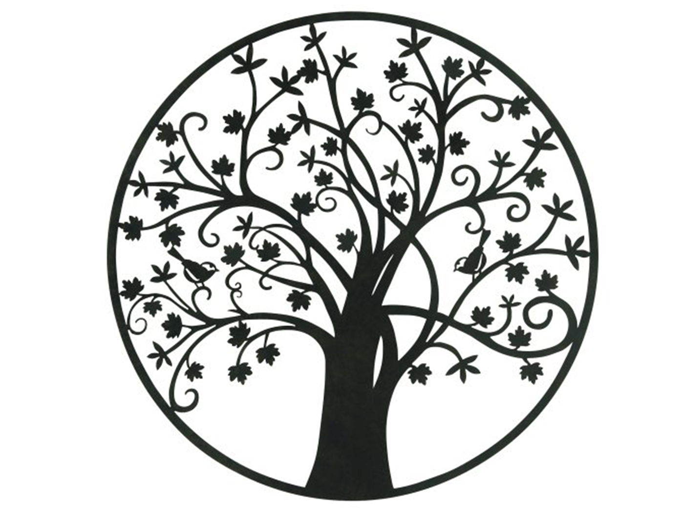 Circle Trees and Leaves Wall Decor 39""