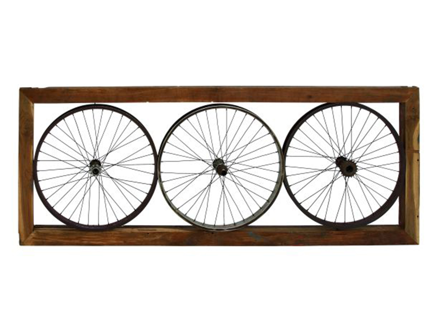 "Metal Triple Bike Wheel Wall Decor 73""W x 29""H"