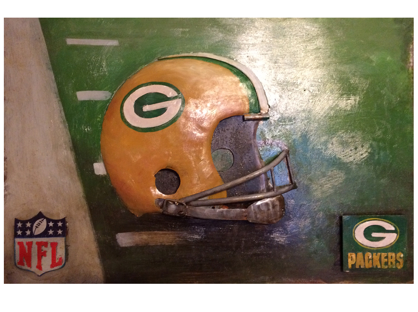 "Packer Helmet Metal Wall Art 24""W x 16""H"