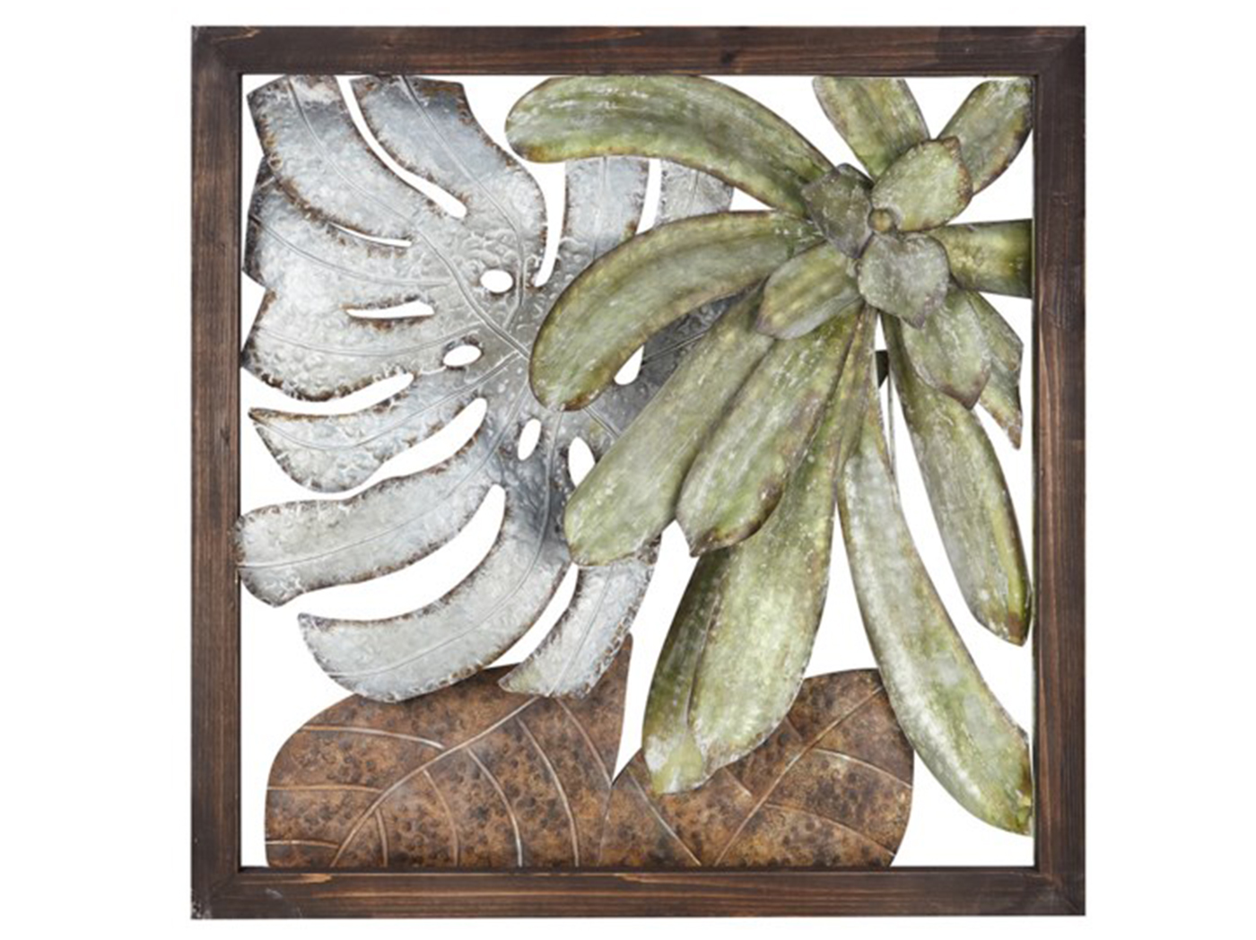 "Metal Palm Leaves Framed Wall Decor 33""W x 33""H"
