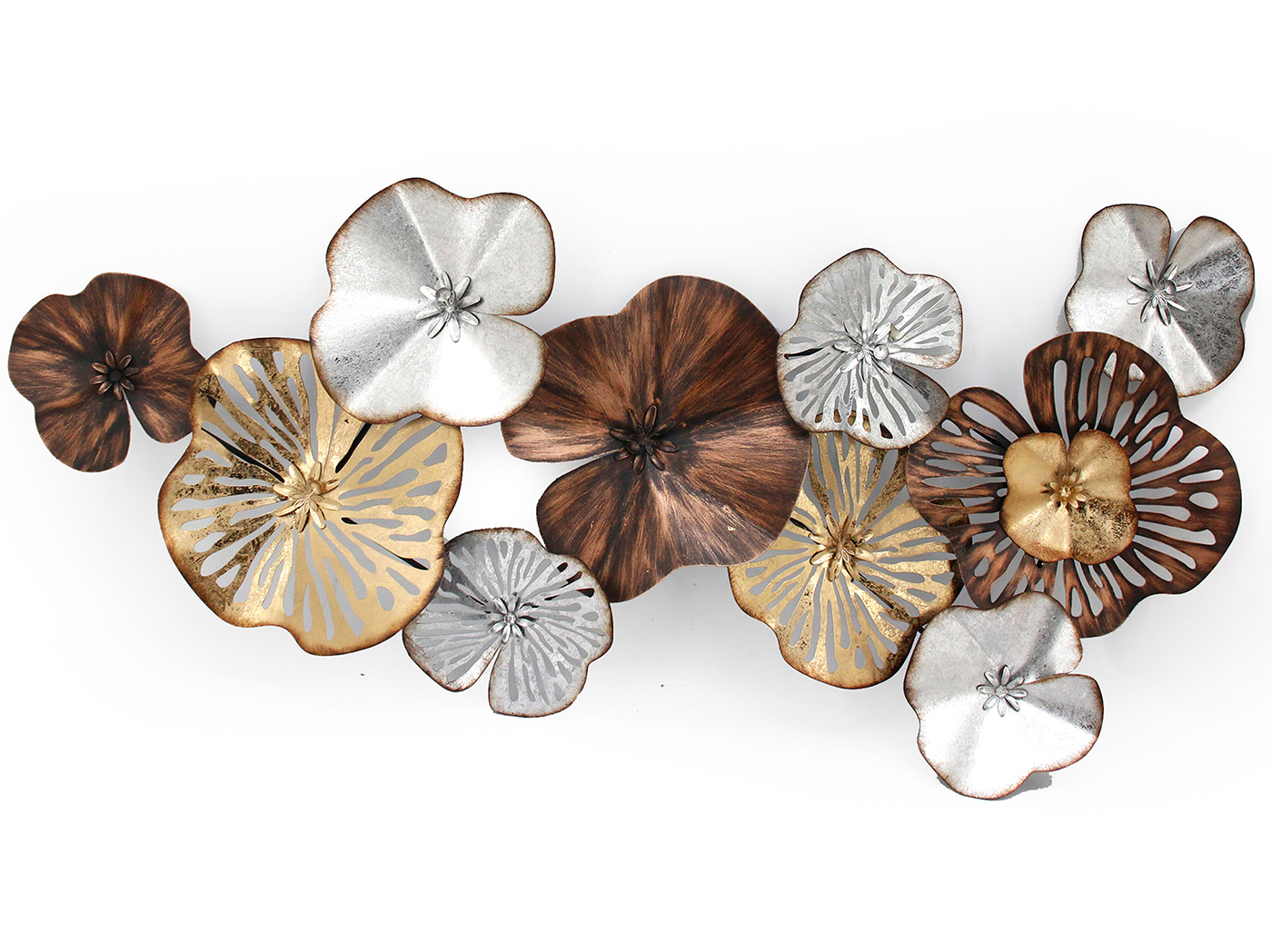 "Bronze, Gold, and Silver Flower Wall Sculpture 47""W x 22""H"