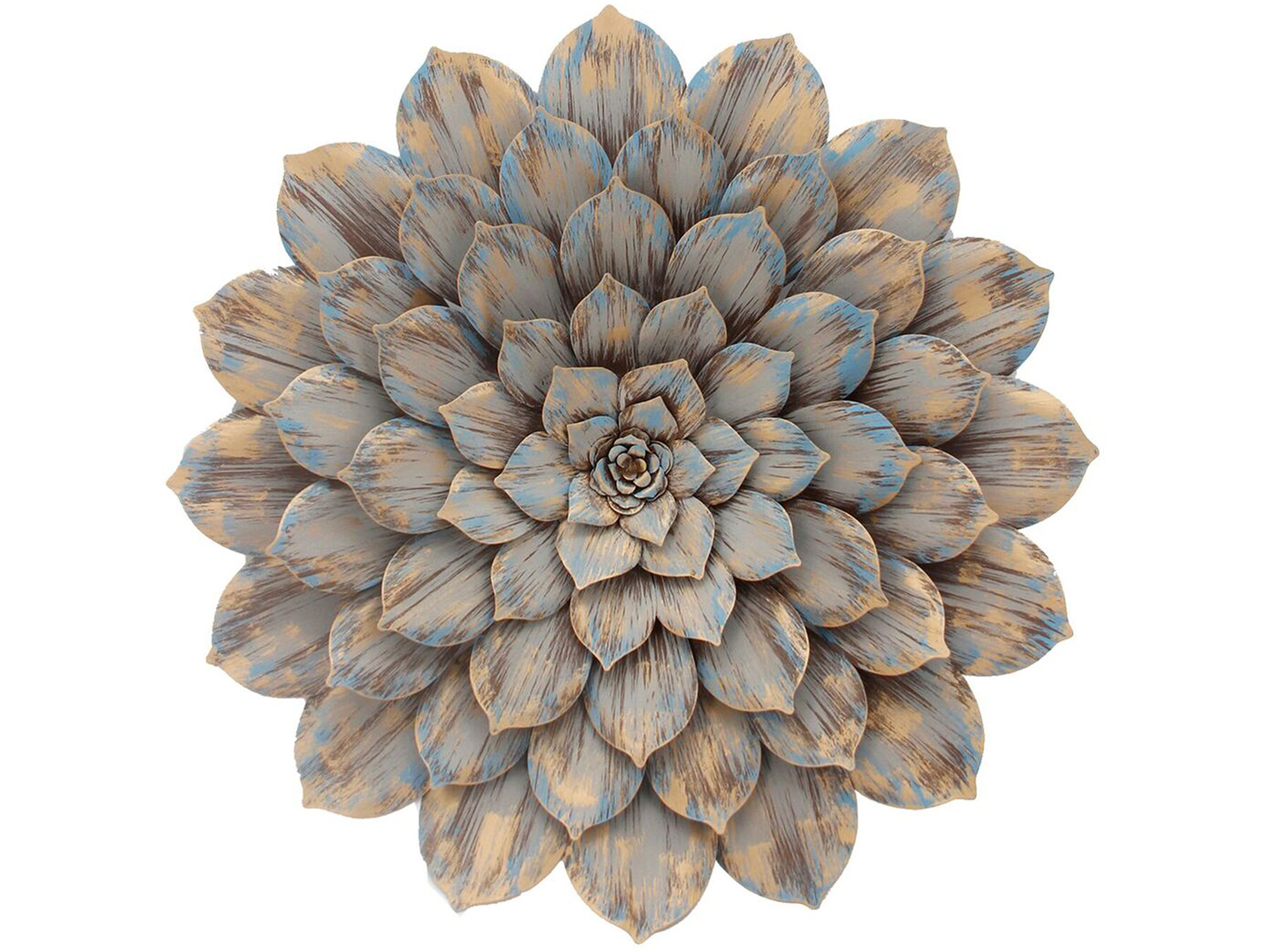 Grey and Beige Metal Wall Flower 32""