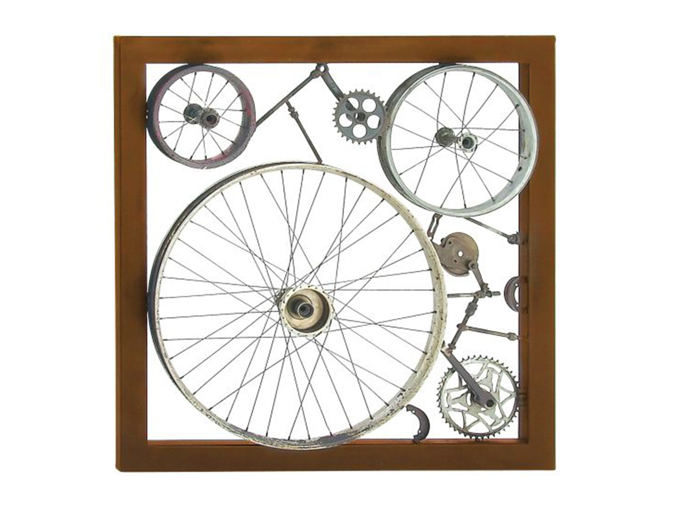 "Bike Wheels and Parts Wall Decor 36""W x 36""H"