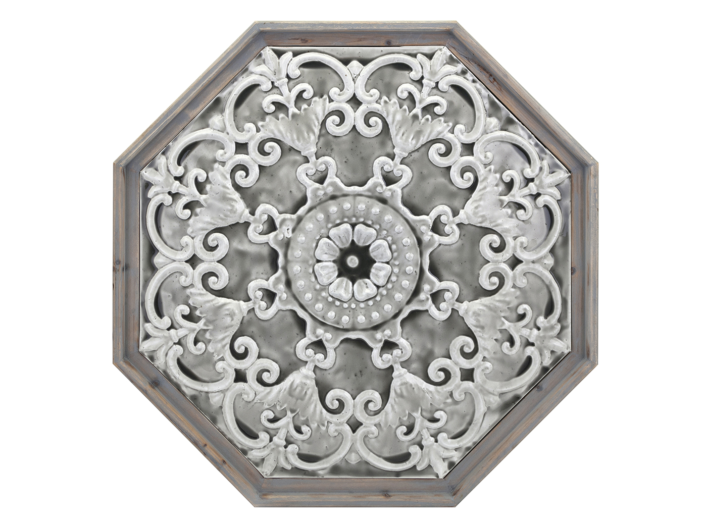 "Octagon Metal and Wood Medallion Wall Decor 26.75""W x 26.75""H"