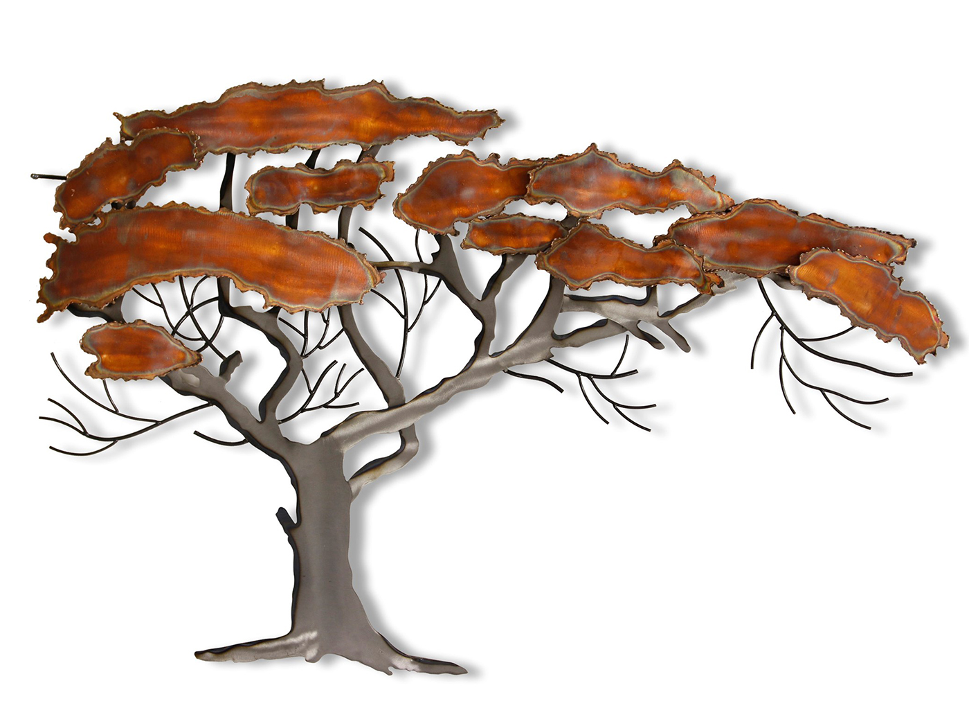 "Copper and Metal Tree Wall Art 27""W x 43""H"