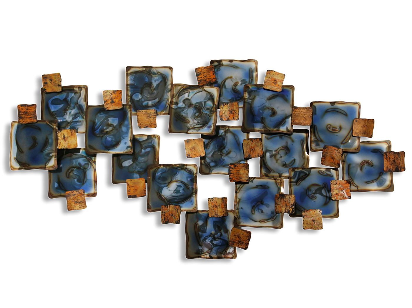 "Blue and Copper Squares Wall Sculpture 50""W x 26""H"