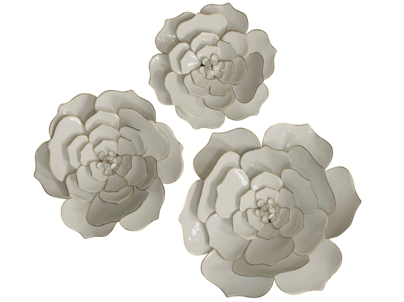 Set of 3 Ivory Flowers Wall Decor 17/20/24""
