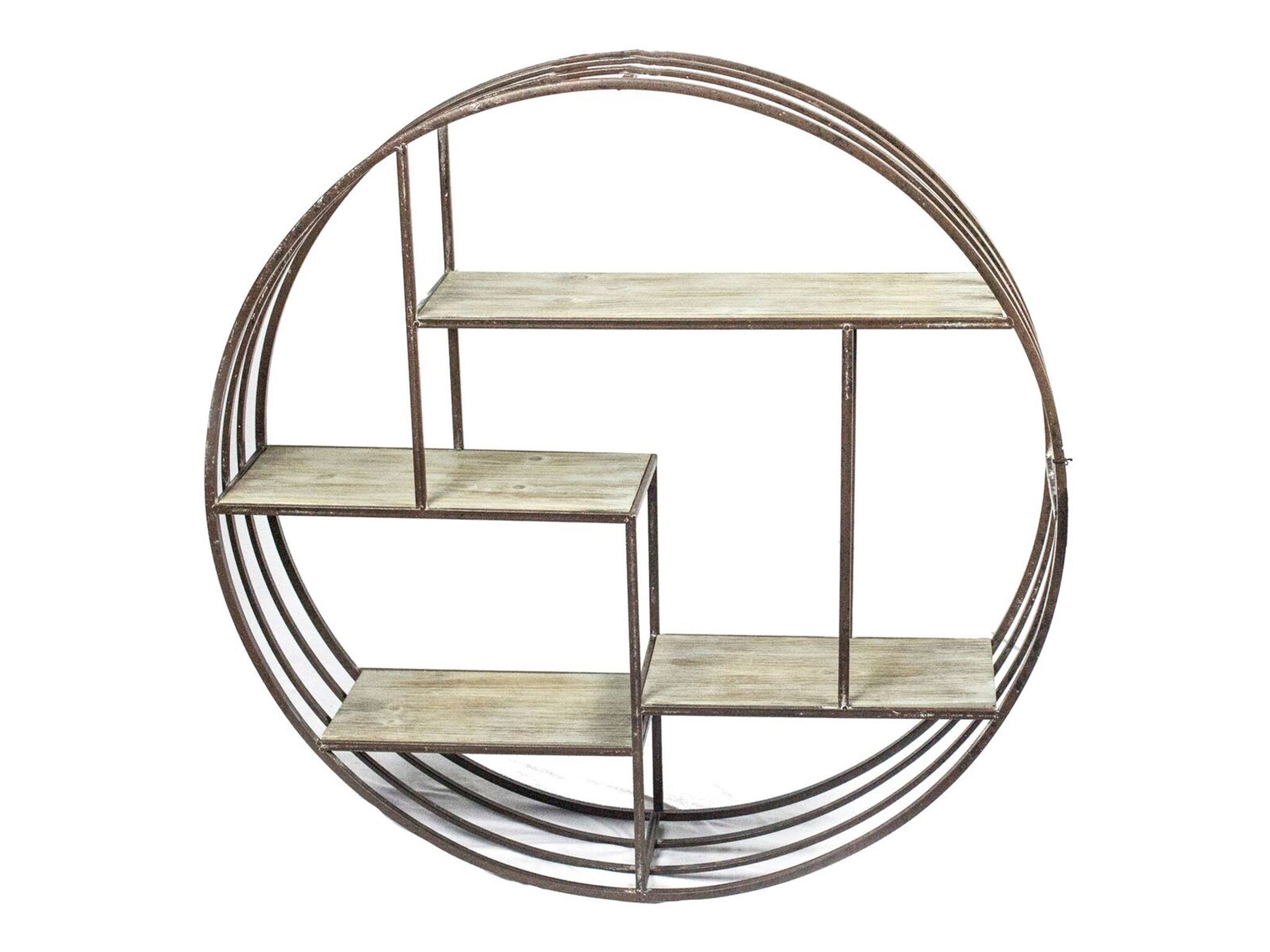 "Round Bronze Metal and Wood Wall Shelf 32""H"