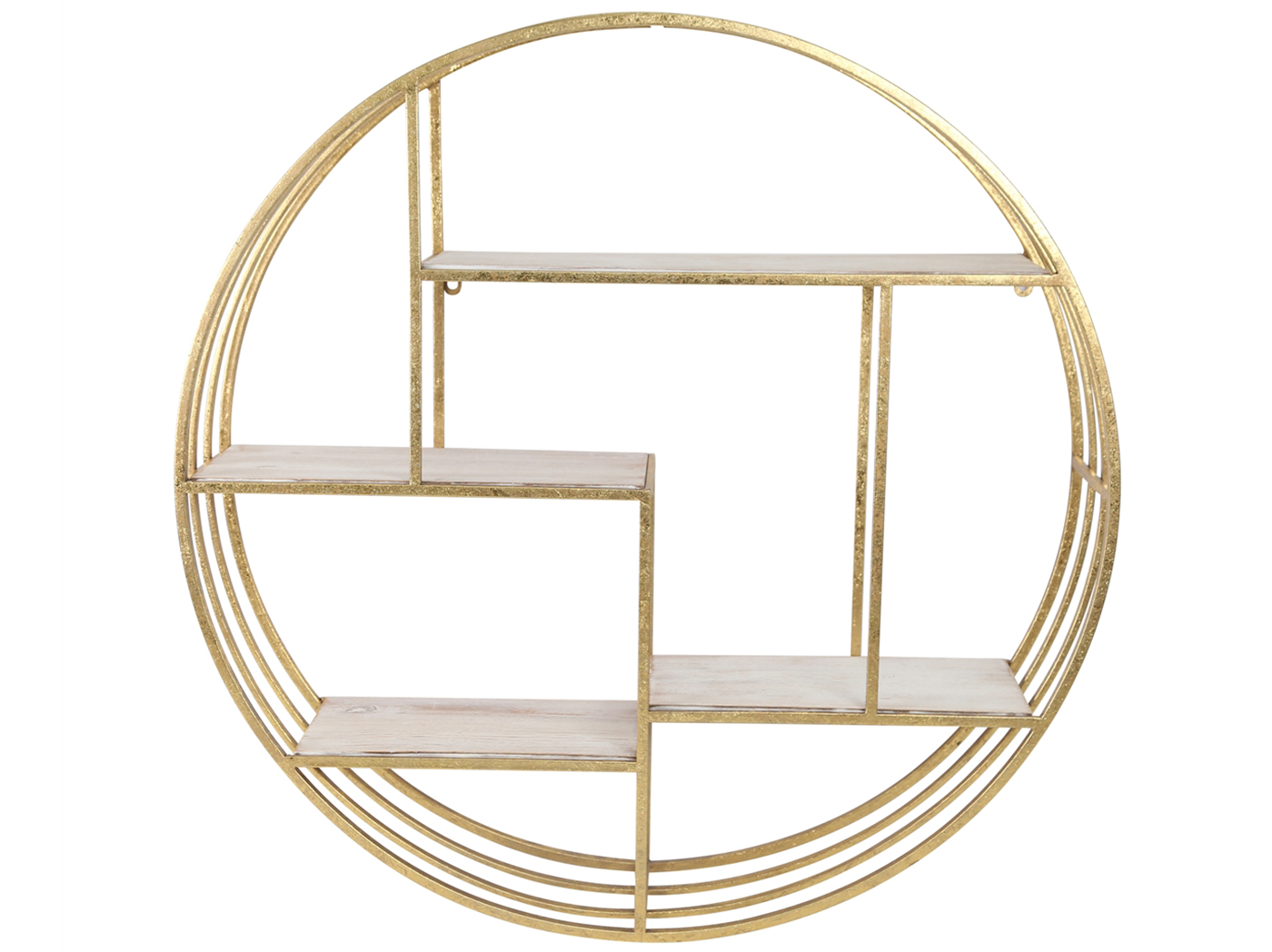 "Gold Round Metal And Wood Wall Shelf 32""H"