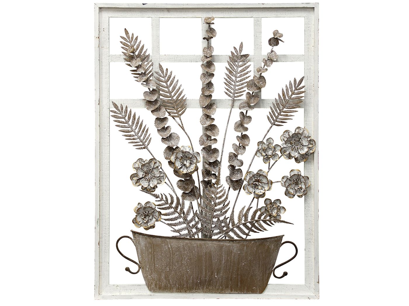 "Bronze and White Metal Flowers Framed Wall Art 24""W x 32""H"