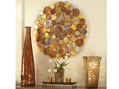 Copper, Silver, Gold Metal Circles Wall Decor 30""