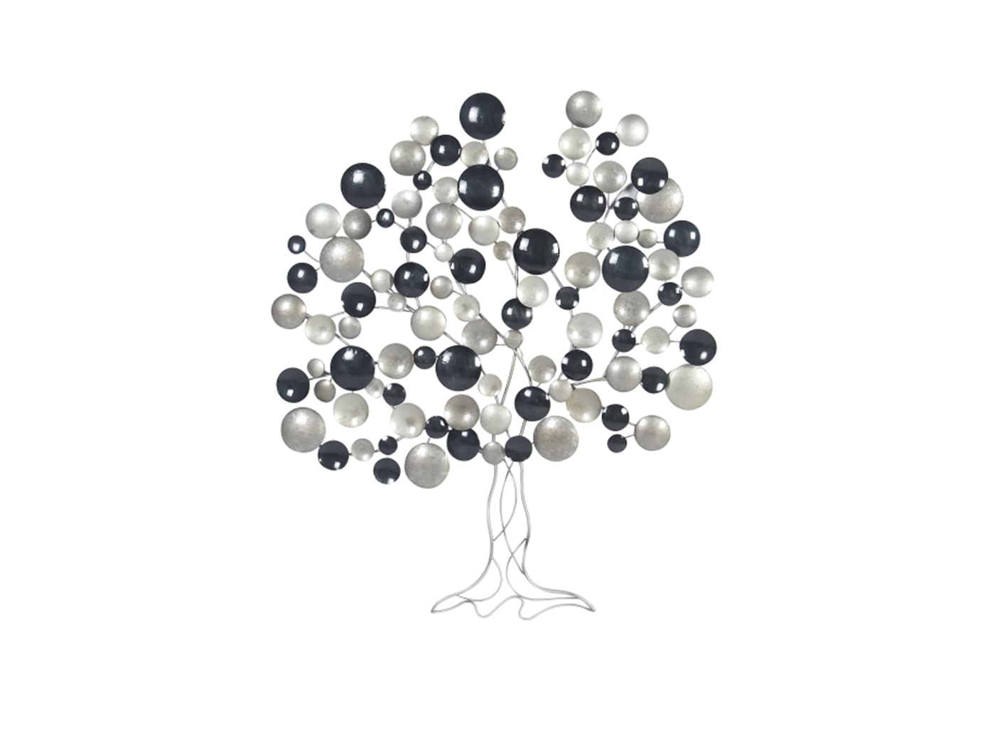 "Charcoal and Silver Metal Circles Tree Wall Decor 38""W x 45""H"