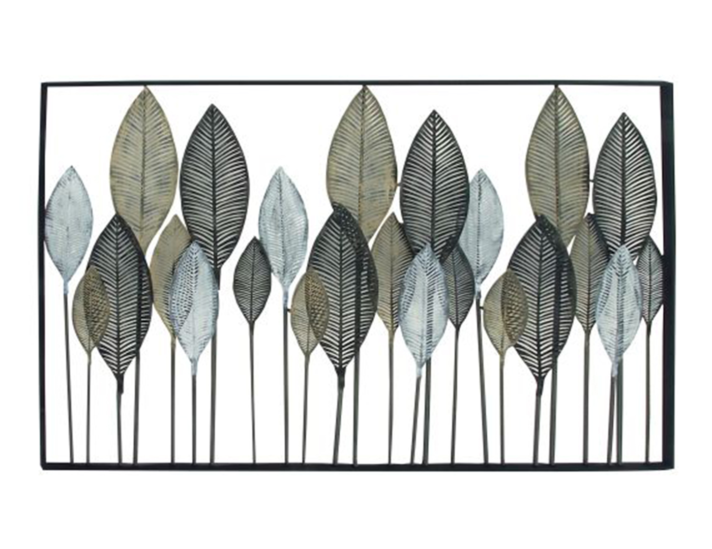 "Black, Bronze, and Silver Metal Leaves Wall Decor 59""W x 37""H"