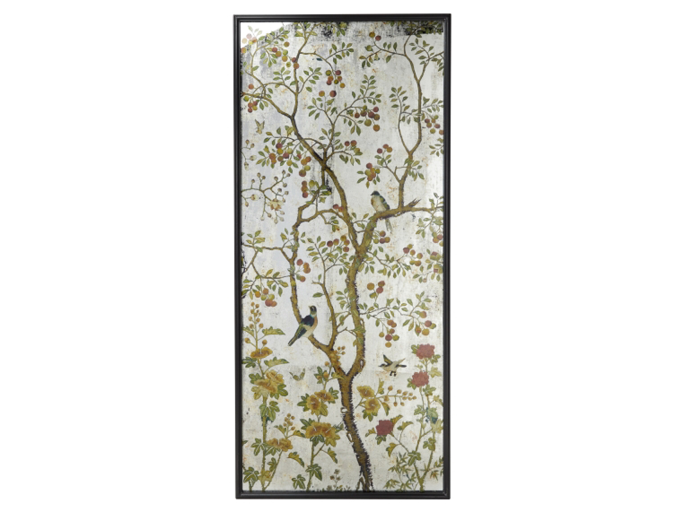 "Metal and Glass Birds in Fruit Tree Framed Wall Art 31""W x 71""H"