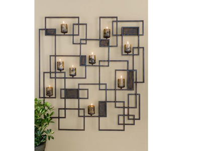"Siam Forged Metal Rectangles Wall Art-Sconce 48""W x 48""H"