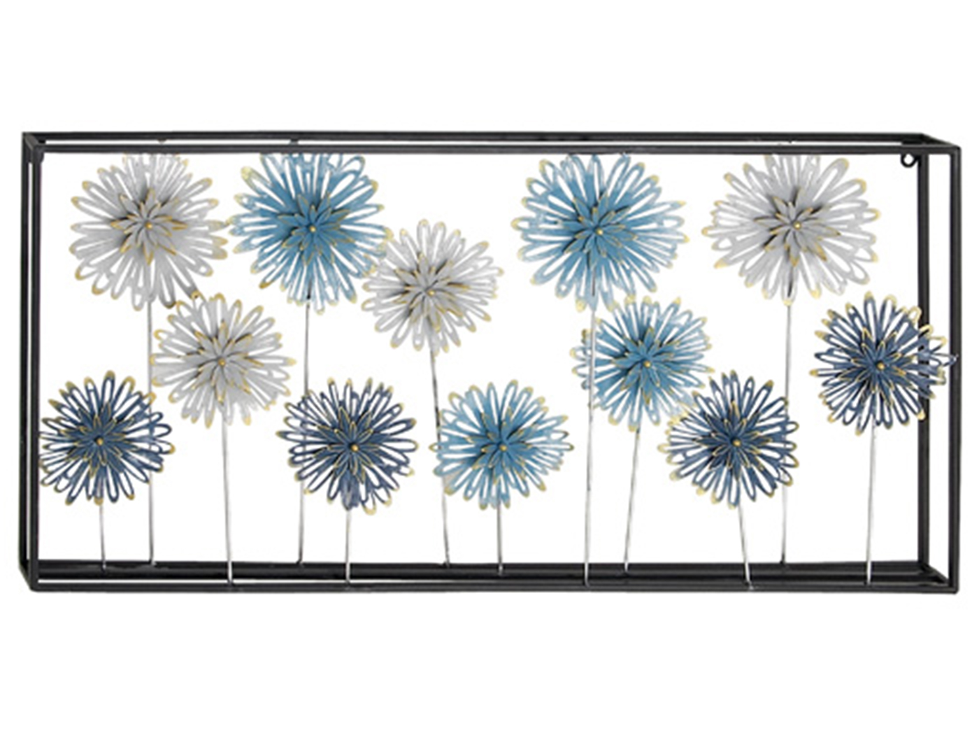 "Blue and Cream Flower Metal Wall Decor 35""W x 17""H"