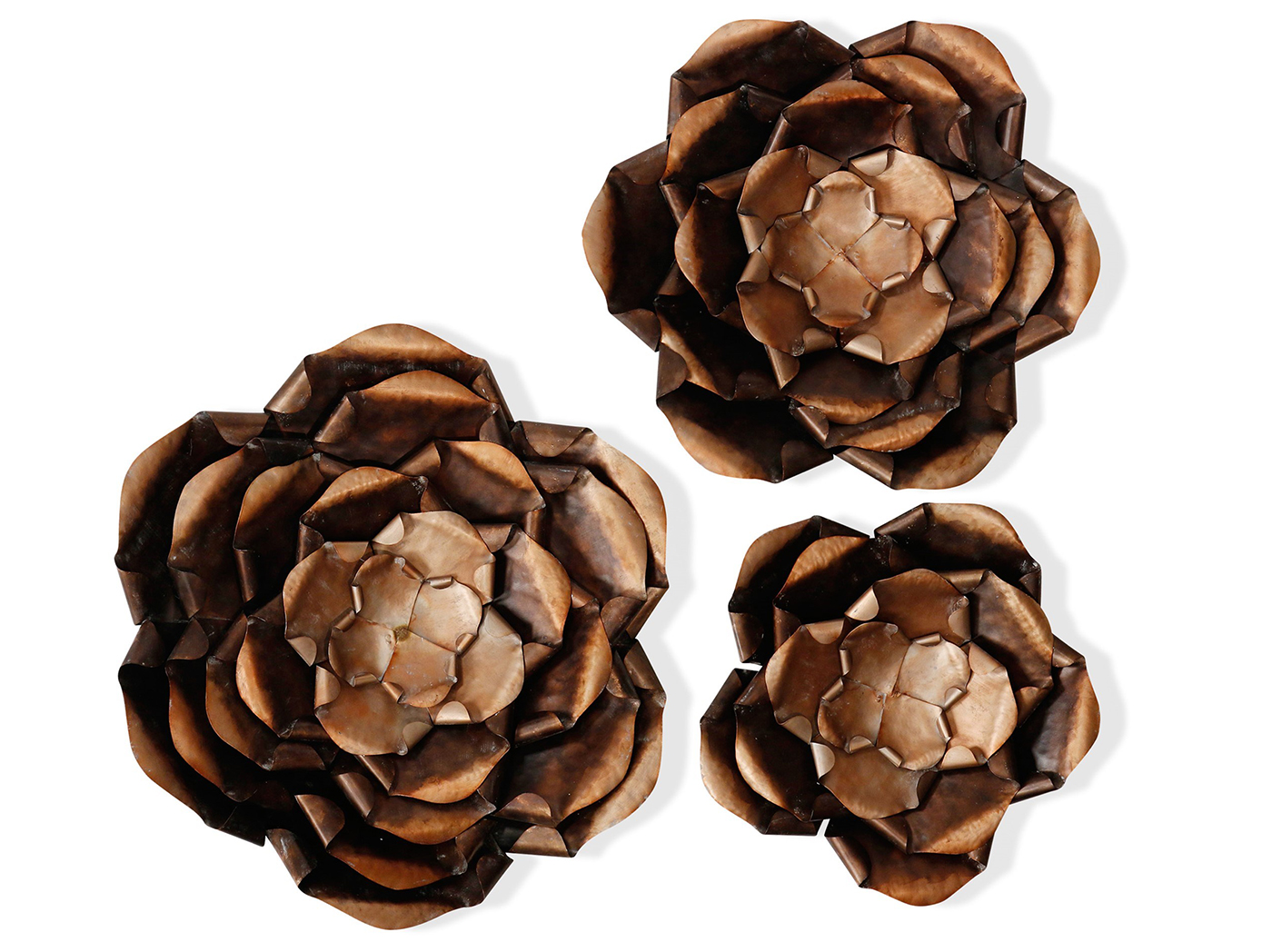 "Set of 3 Copper Flowers Metal Wall Decor 14""-18""-25""Dia."