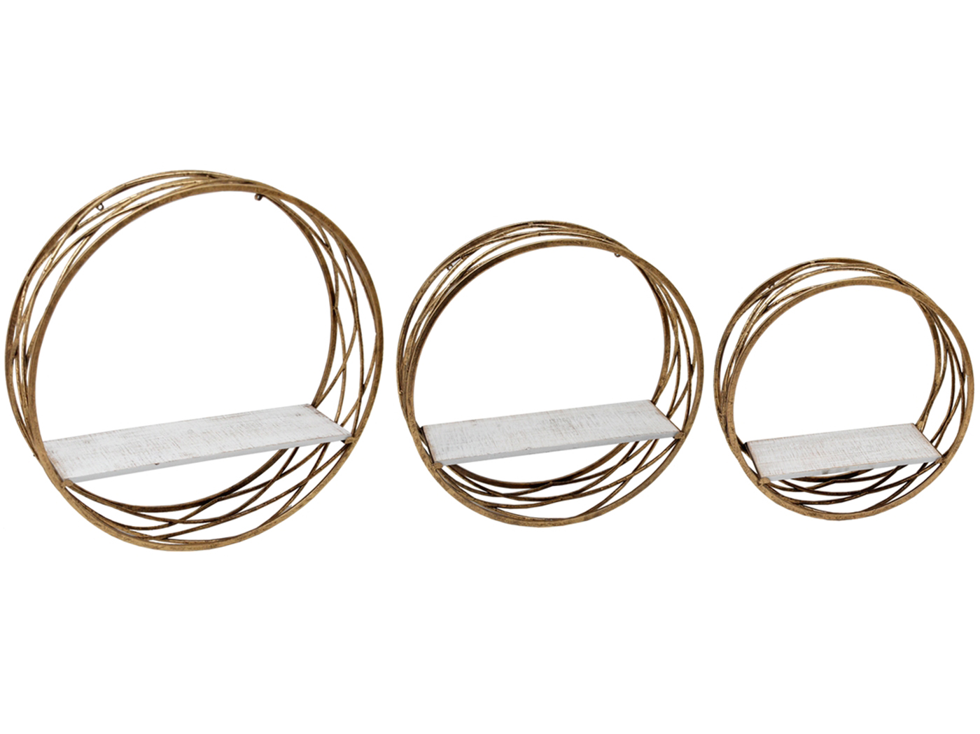 "Set of 3 Gold Metal with White Wood Round Wall Shelves 6""W x 24""H"