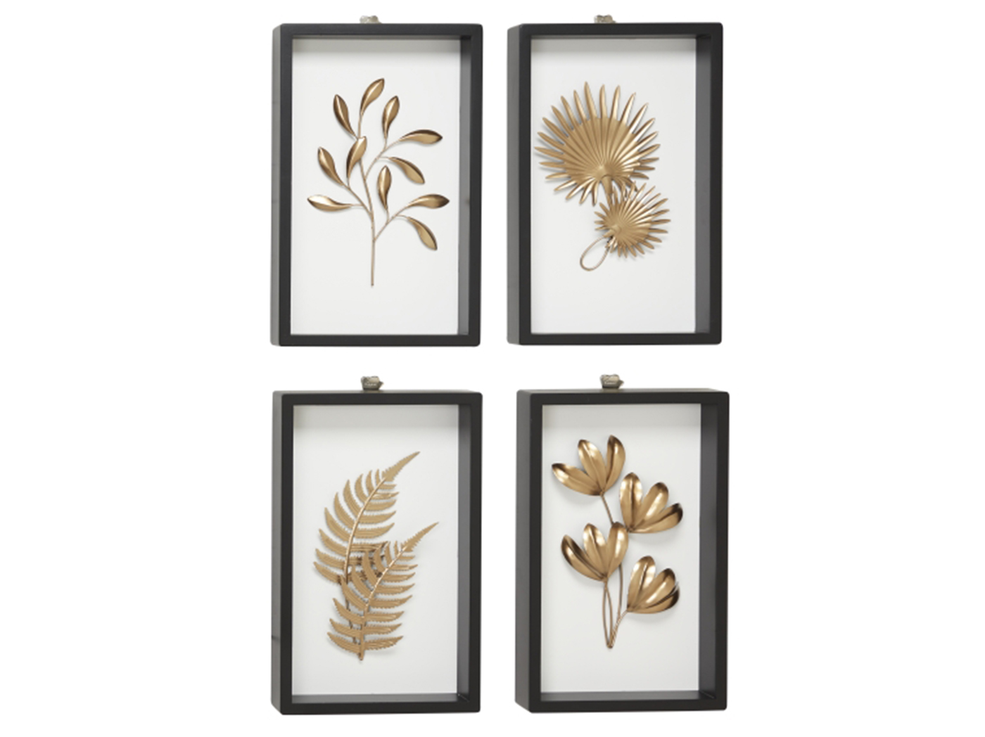 "Set of 4 Gold Metal Botanical Framed Art 10""W x 16""H"