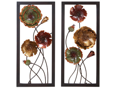 "Assorted Metal Flowers Wall Art 14""W x 32""H"